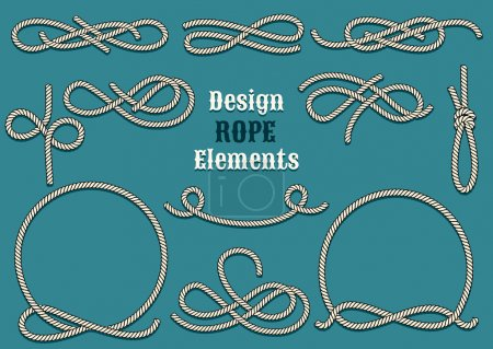 Illustration for Set of Rope Design elements. Drawn in vintage style. Knots and Loops. Only free font used - Royalty Free Image