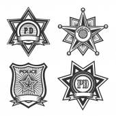 Police badges set Monochrome isolated on white background Only free font used