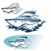 Yacht Emblem Set Motor speedboat and wave Isolated on white background