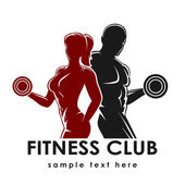 Fitness club logo or emblem with woman and man silhouettes Woman and Man holds dumbbells Isolated on white background Free font Raleway used