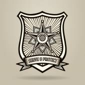 Police Badge with wording Serve and Protect Illustration in Engraving Style  Free font used