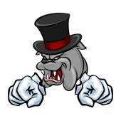 Bulldog in hat mascot