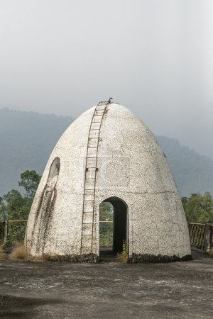 Unusual architecture egg shaped building at Beatles Ashram