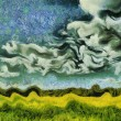 Постер, плакат: Van Gogh style painting green summer meadow landscape