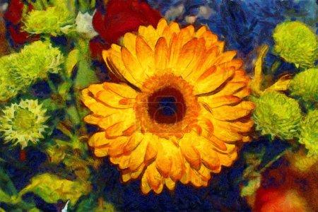 Photo pour Gerbera bouquet huile illustration Van Gogh style - image libre de droit