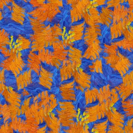 Photo pour Orange bleu abstrait sans couture motif huile coups texture peinture - image libre de droit