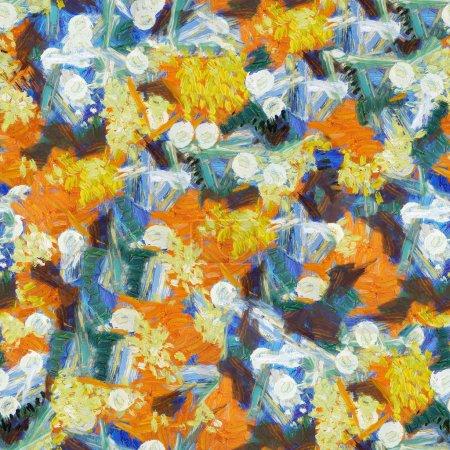 Photo pour Orange blanc bleu abstrait sans couture motif huile coups texture peinture - image libre de droit