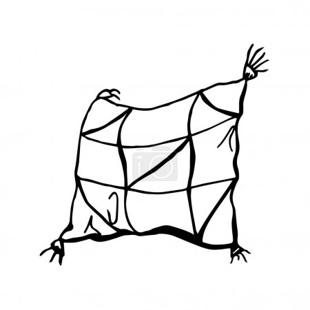 Illustration for Doodle pillow in a cage with tassels on a white background - Royalty Free Image