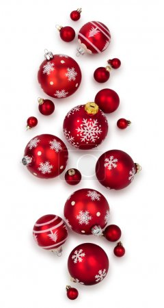 Different Christmas balls isolated on white background.