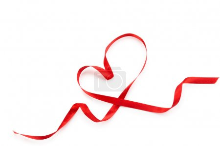 Heart from red ribbon.