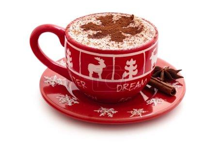 Photo pour Noël décoré tasse avec du chocolat chaud pour les vacances. - image libre de droit