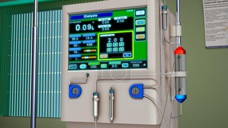 Photo pour Hémodialyse, machine de purification du sang. Illustration 3d - image libre de droit