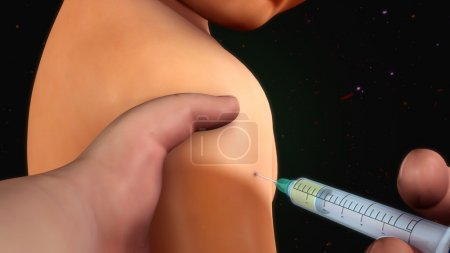 patient injection with syringe