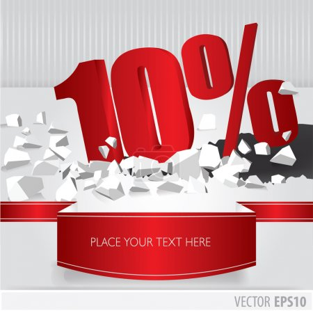 Red 10 percent discount on vector cracked ground on white backgr