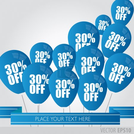 Blue balloons With Sale Discounts 30 percent.