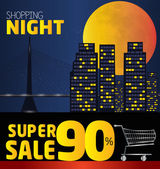 Shopping night  discount of 90 percent Vector City at night v