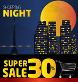 Shopping night  discount of 30 percent Vector City at night v