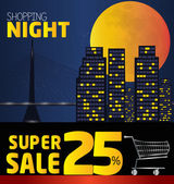 Shopping night  discount of 25 percent Vector City at night v
