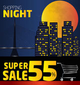 Shopping night  discount of 55 percent Vector City at night v