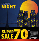 Shopping night  discount of 70 percent Vector City at night v