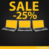 Sales of laptops Black background with laptops with a yellow screen Sale 25  percent Vector eps 10