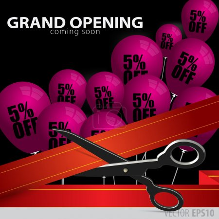 Shop grand opening - cutting red ribbon.