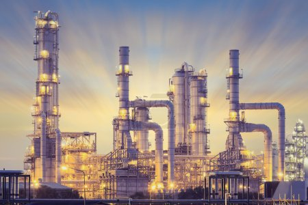 Photo for Oil refinery factory at twilight. - Royalty Free Image
