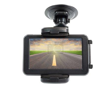 Photo pour Appareils de navigation et de la route asphaltée en écran, un tracé de détourage inclure dans fichier. - image libre de droit