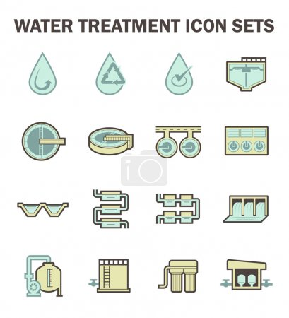 Illustration for Water treatment vector icon sets design. - Royalty Free Image