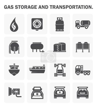 Illustration pour Jeux d'icônes de stockage et de transport de gaz . - image libre de droit