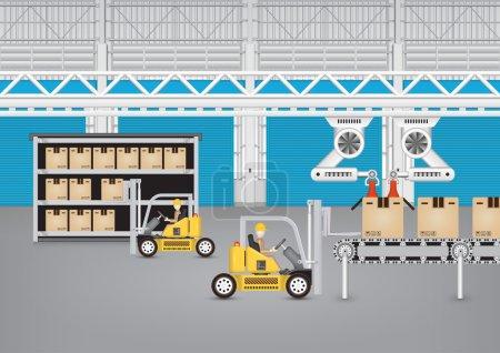 Illustration pour Robot travaillant avec bande transporteuse et chariot élévateur à l'intérieur de l'usine . - image libre de droit