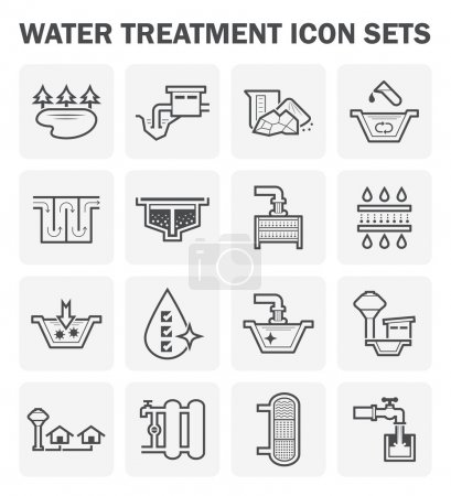 Illustration for Water treatment, water supply vector icon sets design. - Royalty Free Image