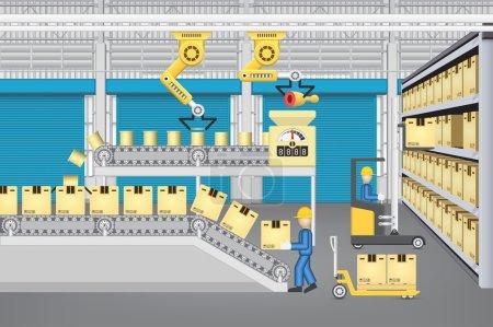 Illustration pour Robot travaillant avec la ligne de production et le travailleur à l'intérieur du bâtiment d'entrepôt ou d'usine . - image libre de droit