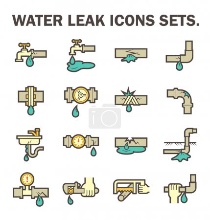 Illustration for Burst pipe and water leak vector icon set design. - Royalty Free Image