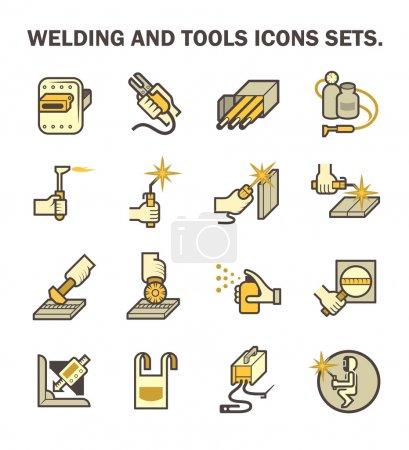 Illustration pour Travaux de soudage et outils de soudage jeux d'icônes vectorielles . - image libre de droit