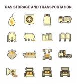 Gas storage and transportation icon sets