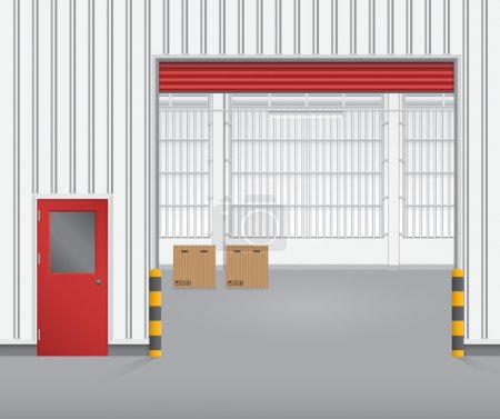 Illustration for Illustration of shutter door and steel door outside factory, red color. - Royalty Free Image