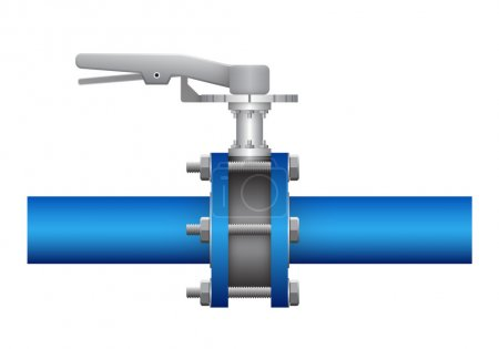 Illustration for Illustration of valve and steel pipe, blue color. - Royalty Free Image