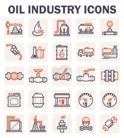 Illustration for Oil industry icons sets. - Royalty Free Image