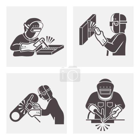 Illustration pour Illustration des jeux d'icônes de soudage . - image libre de droit