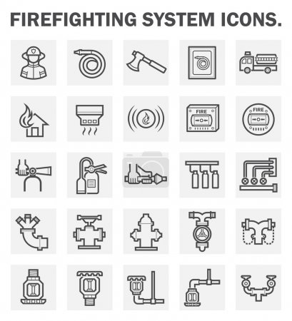 Illustration for Firefighting system icons sets. - Royalty Free Image