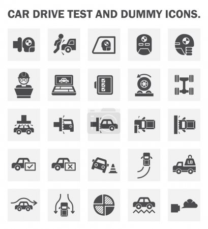 Illustration for Car drive test and dummy icons sets. - Royalty Free Image