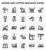 Crane and lifting machine icons sets
