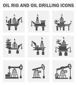 Oil rig and oil drilling icons sets