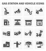 Gas station and vehicle icons sets