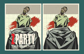 Vector party Poster Zombie party invitation set