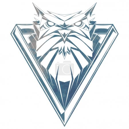Illustration for Owl head. Triangle logo for your t-shirt. - Royalty Free Image