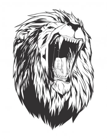 Illustration for Lion head. Monochromatic logo for your t-shirt. - Royalty Free Image