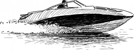 Illustration for Vector image of a man in a motorboat. - Royalty Free Image