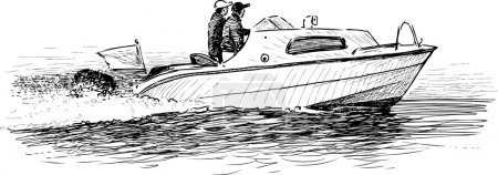 Illustration for Vector image of the people in a motorboat. - Royalty Free Image